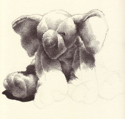 Fuzzy elephant H & 2B pencil unfinished