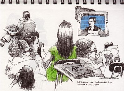 Inauguration ceremony on TV doodles