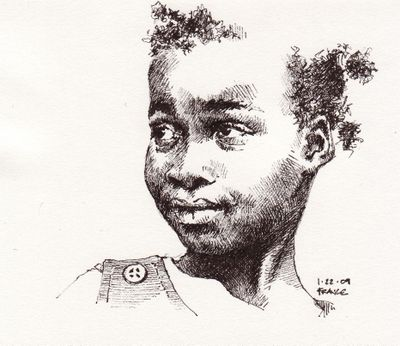 Girl with button Pigma Micron