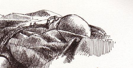 Nora asleep with pen