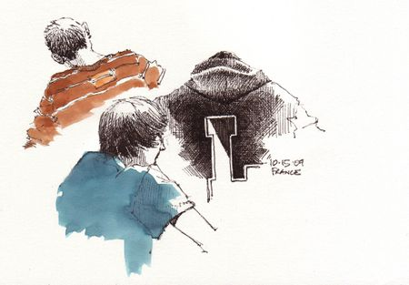 Dan, Mike & Melissa in sketchbook