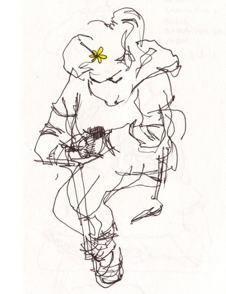 Blind Contour yellow flower low res