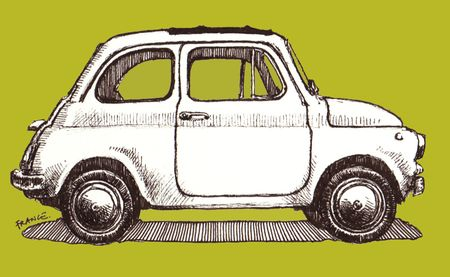 Fiat Cinquecento sans watercolor with Photoshop background