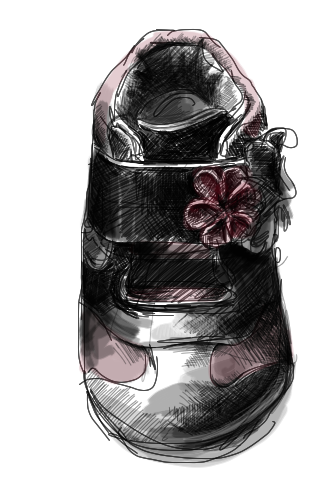 Sept 9, 2011 Nora's left shoe with iPhone Brushes app