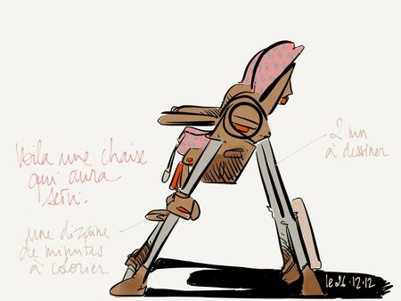 Nora's high chair with Paper app