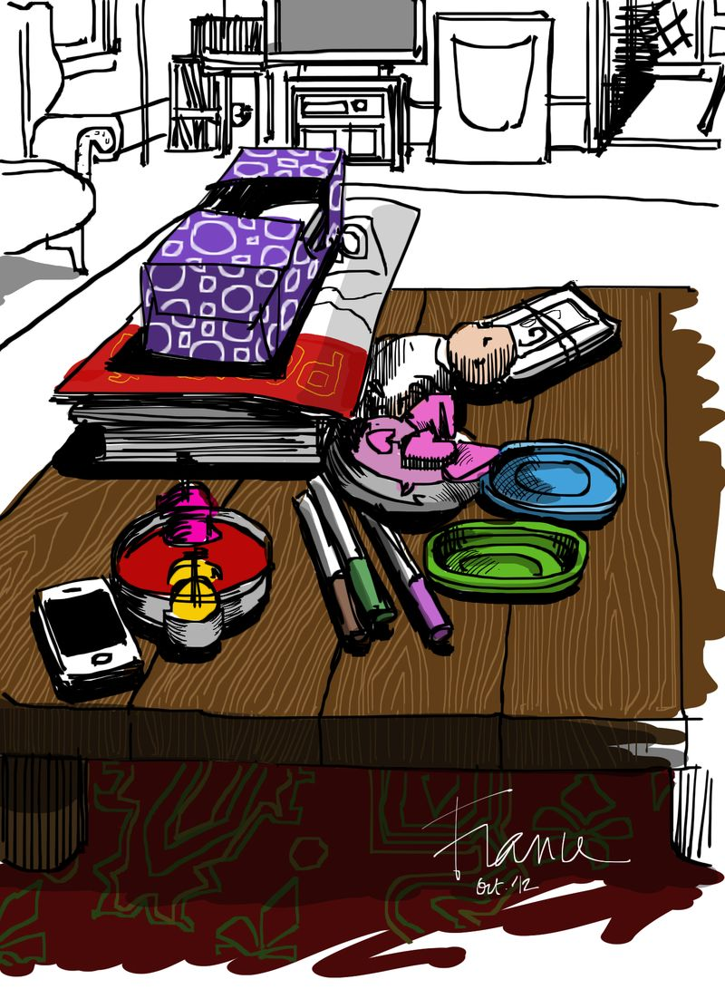 Living room table with Procreate