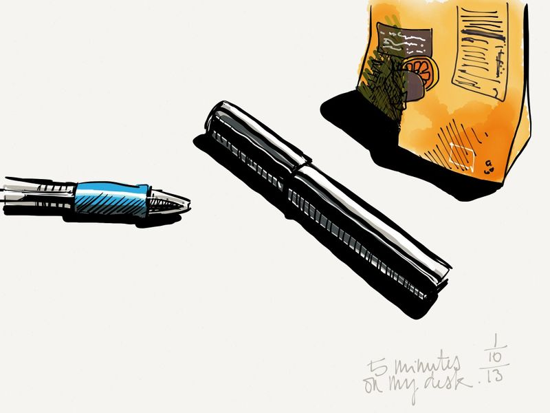 Pens and bag of orange-infused prunes