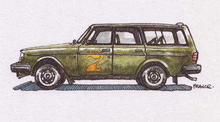Green Volvo 240 DL wagon lower res